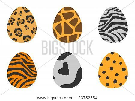 animal patterns easter eggs set. Used gradient mash, blending mode and opacity