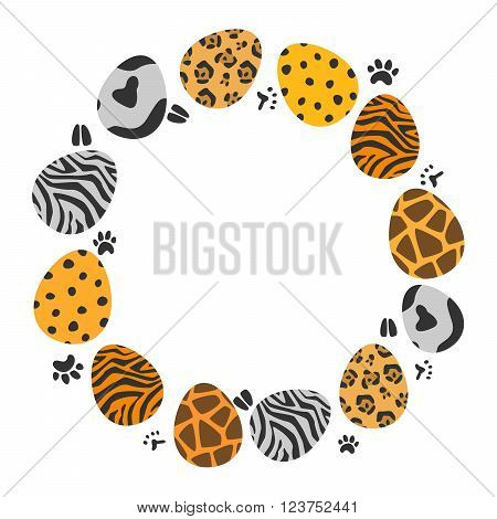 circle animal patterns easter eggs set. Used gradient mash, blending mode and opacity