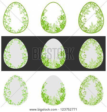 Floral green easter egg element illustration holiday plant