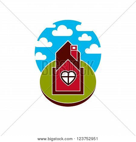 Illustration of house on cloudy background beautiful fairy vector picture. Family harmony at home love and relationship idea. Building facade with a heart symbol.