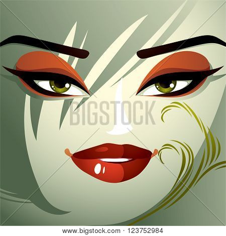Facial emotions of a young pretty woman with a modern haircut. Coquette lady visage expressive human eyes lips and locks.