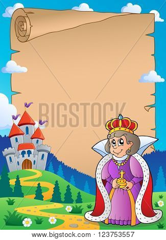 Parchment with queen near castle 2 - eps10 vector illustration.