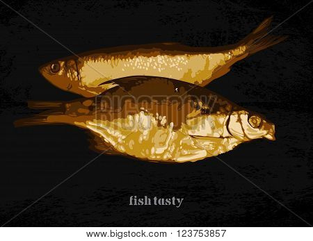 two cooked fish on a dark background, freehand drawing