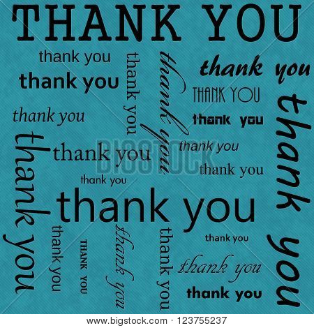 Thank You Design with Teal Tile Pattern Repeat Background that is seamless and repeats