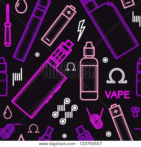 Vector seamless pattern for vape shop and vape service, e-cigarette store, isolated on black background.