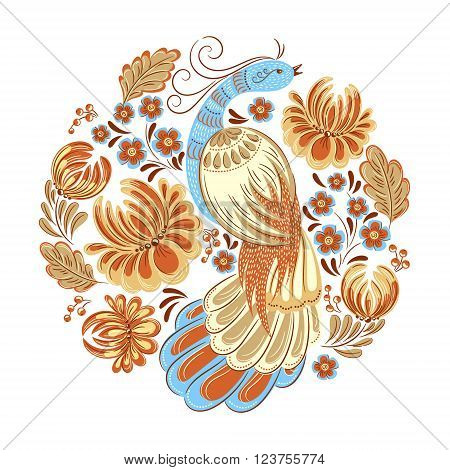 Vector decorative ornamental illustration of bird and flowers in traditional folk style. Ethnic template for fabric, textile, cloth, print, greeting card, wallpaper.