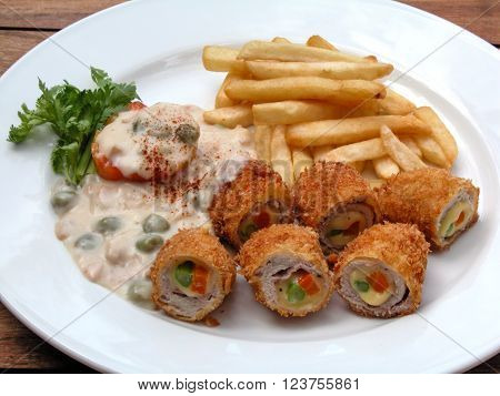Pork Rolls with White Sauce and French Frieds
