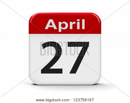 Calendar web button - Twenty Seventh of April three-dimensional rendering