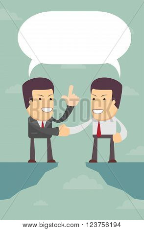 Business people were able to negotiate the gap, vector illustration