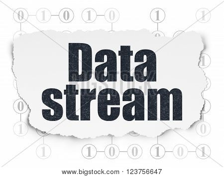 Data concept: Data Stream on Torn Paper background