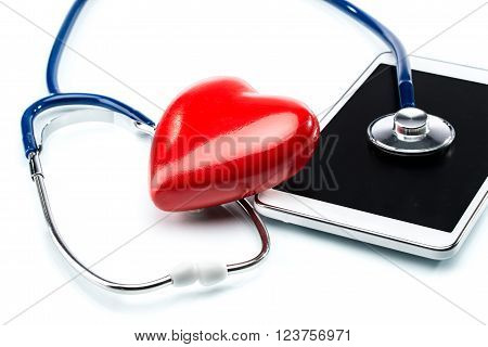 Heart Disease Research, Stethoscope ,heart Shape And Digital Tablet