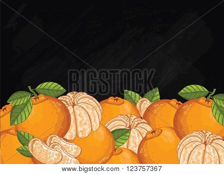 Mandarin on chalkboard background. Mandarin composition, plants and leaves. Organic food. Summer fruit. Fruit background for packaging design.