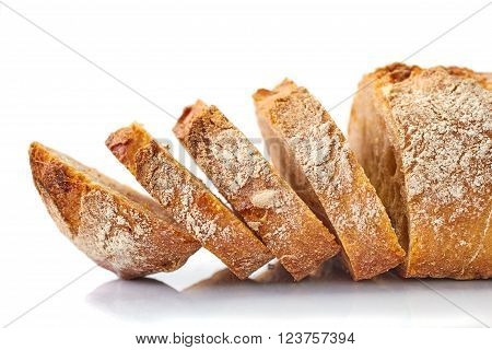 Sliced bread loaf isolated on white background