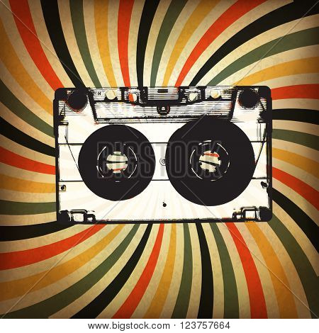 Grunge music background. Audio cassette illustration on rays