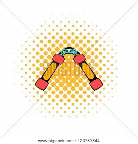 Nunchaku weapon icon in comics style on a white background
