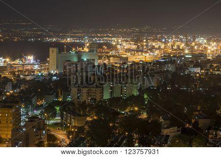 Haifa port view from Mount Carmel in Haifa, Israel