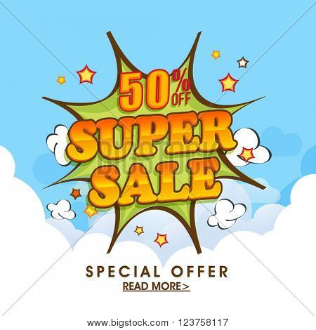 Super Sale Poster, Sale Banner, Sale Flyer, 50% Discount, Special Offer, Creative vector illustration.