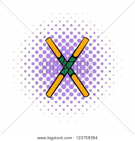 Wooden sword bokken  icon in comics style on a white background