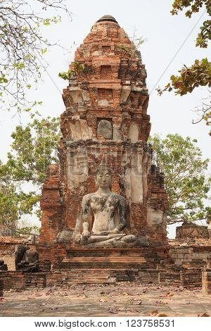The ancient buddha statue with pagoda at thailand
