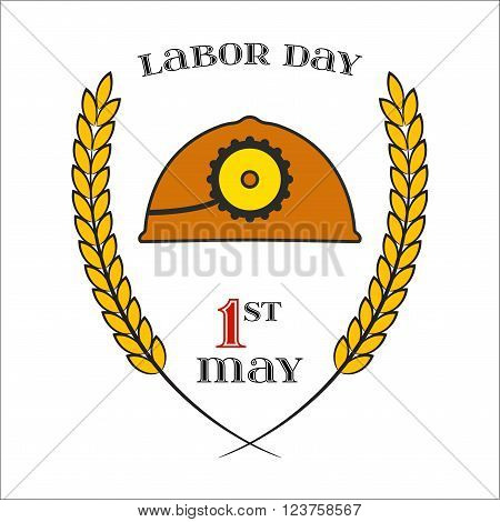 May Day. May 1st. Labor Day Icon with helmet over white . Element for poster, greeting card or brochure template, logo, symbol of work and labor, vector icon