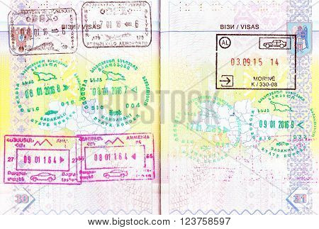 Passport with stamps of Azerbaijan, Georgia, Armenia and Albania