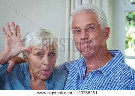 Close-up portrait of senior couple making faces at home