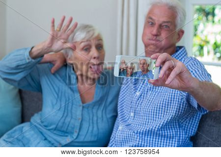 Senior couple making faces while taking selfie at home