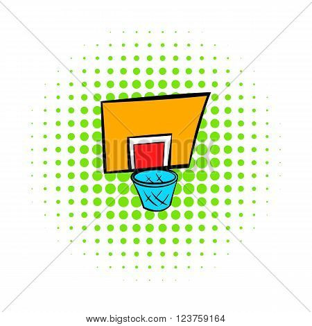 Basketball goal icon in comics style on a white background