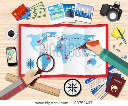 couple of mans with magnifier and pen planning trip. paper map of world. passport, airplane ticket, photo camera photos, sticky notes. vector illustration in flat design on light background