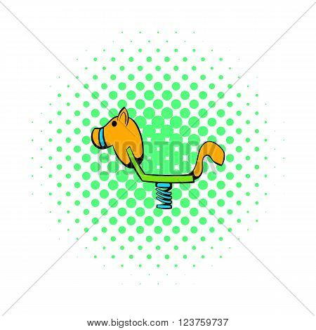 Yellow spring see saw icon in comics style on a white background