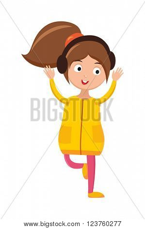 Girl dancing with headphones young beautiful woman bright outfit enjoying music home vector.