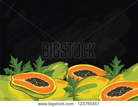 Papaya on chalkboard background. Papaya composition, plants and leaves. Organic food. Summer fruit. Fruit background for packaging design.