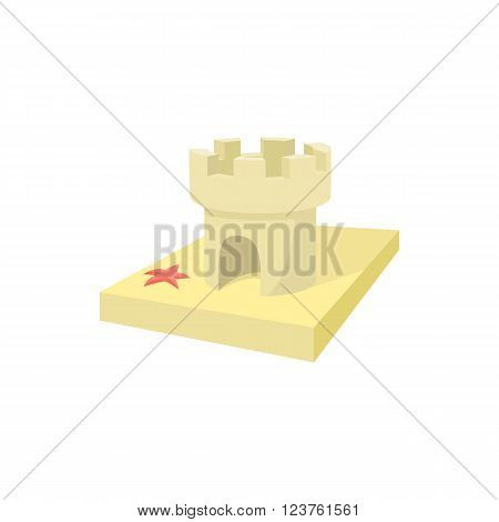 Sandcastle icon in cartoon style on a white background