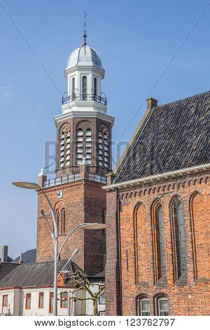 Tower and church on the central market square in Winschoten, Netherlands