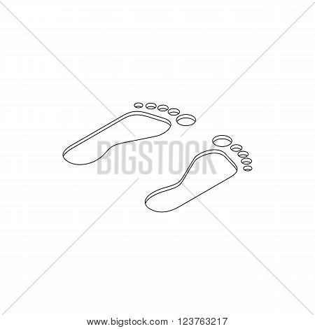 Footprints icon in isometric 3d style isolated on white background. Footprints in the sand