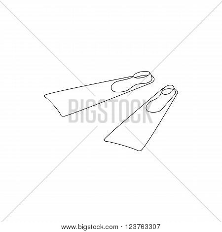Pair of diving flippers icon in isometric 3d style isolated on white background