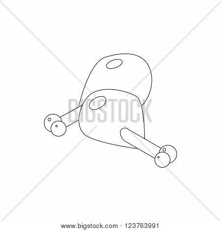 Two chicken legs icon in isometric 3d style isolated on white background
