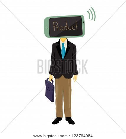 Illustration of mobile head salesman presenting product