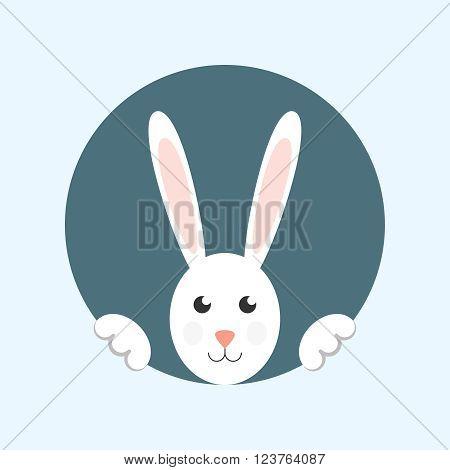 White easter rabbit. Easter rabbit card. Easter rabbit vector.