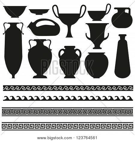 Old greek roman spartan set icons art