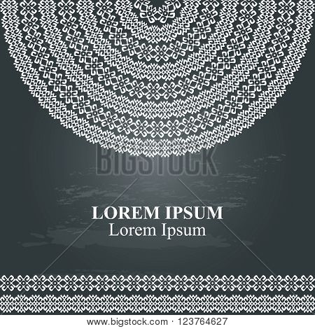 Ethnic template for cards, invitations, banners. Background with half round ornamental texture and sample text lorem ipsum in white color isolated on chalkboard. Vector illustration