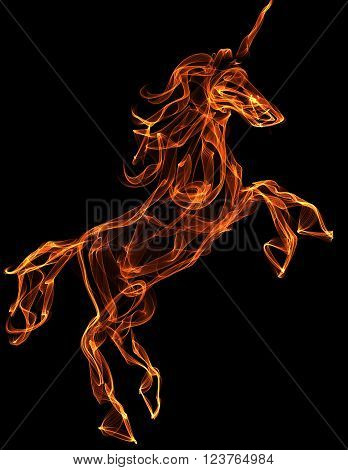 Flaming unicorn. Fire texture illustration. Mythology creature
