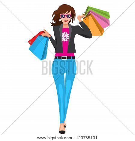 Woman walking with paper shopping bags. Illustrated vector with solid flat colors