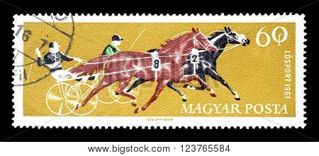 HUNGARY - CIRCA 1961 : Cancelled postage stamp printed by Hungary, that shows Horse racing.