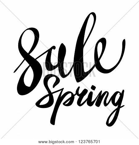 Spring Sale Lettering Typography Design. Vector Spring Sale Lettering Logo. Hand Drawn Spring Sale L