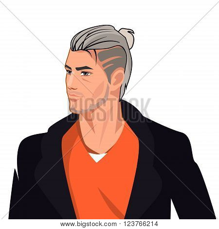 Handsome Man Comic Character, Isolated Vector Illustration