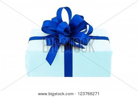 Gift box wrap in blue paper and blue bow
