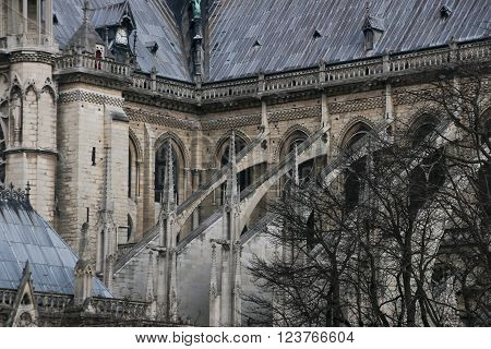 Architectural details of Cathedral Notre Dame de Paris. Cathedral Notre Dame de Paris - most famous Gothic Roman Catholic cathedral on the eastern half of the Cite Island. France Europe.
