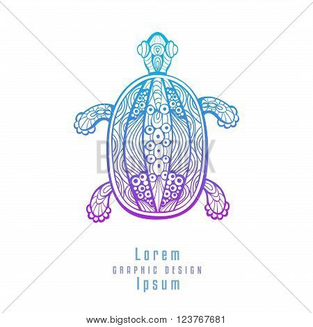 Abstract Turtle. Stylized amphibian with fancy shell hand drawn line art element. Isolated on white background. Concept for beauty, health or yoga salon. Vector is EPS8.
