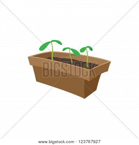 Seedling icon in cartoon style isolated on white background. Seedlings in a box